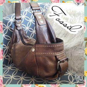 Fossil bag brown leather shoulder purse